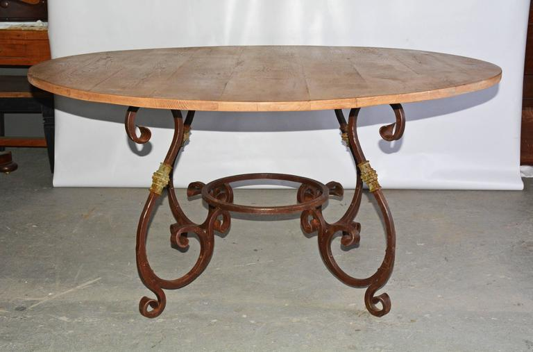 Rustic outdoor or indoor round teak and metal base dining for Outdoor round table tops for sale