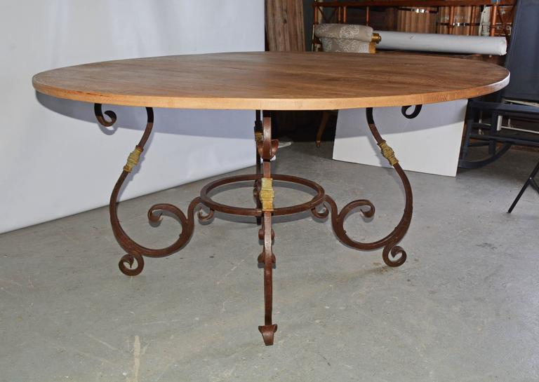 Rustic Outdoor Or Indoor Round Teak And Metal Base Dining