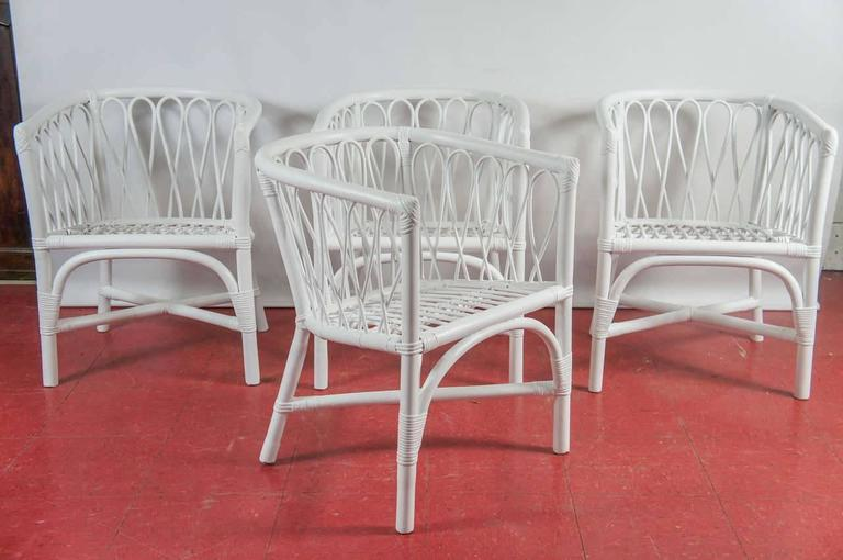 Set of Four Bentwood and Rattan Dining Chairs For Sale 2