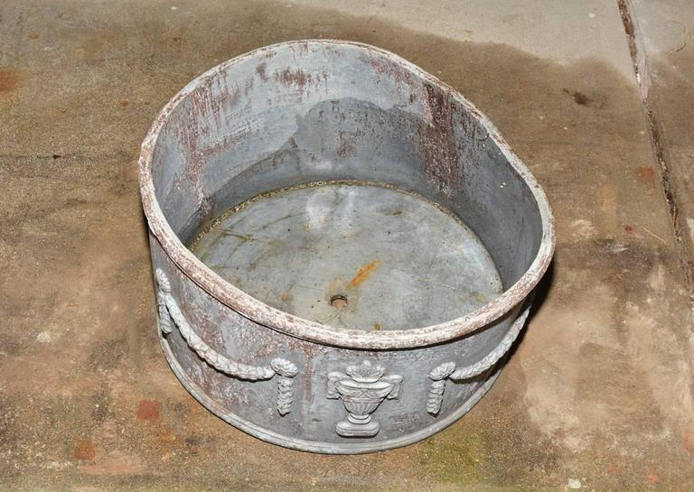 Neoclassical Antique Lead Planter with Drainage Hole For Sale