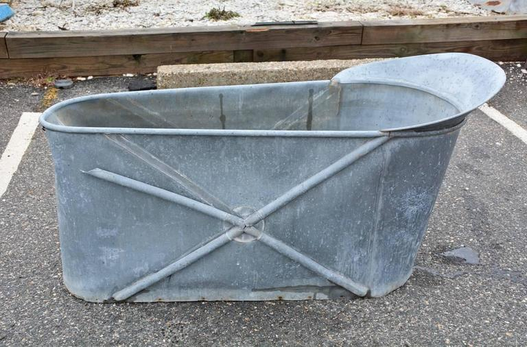 Antique French Zinc Bathtub For Sale at 1stdibs