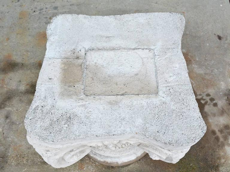 Cast Antique Ionic Stone Pedestal For Sale