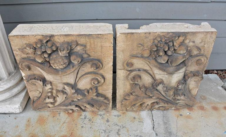 Pair of Antique Terracotta Architectural Building Elements In Fair Condition For Sale In Great Barrington, MA