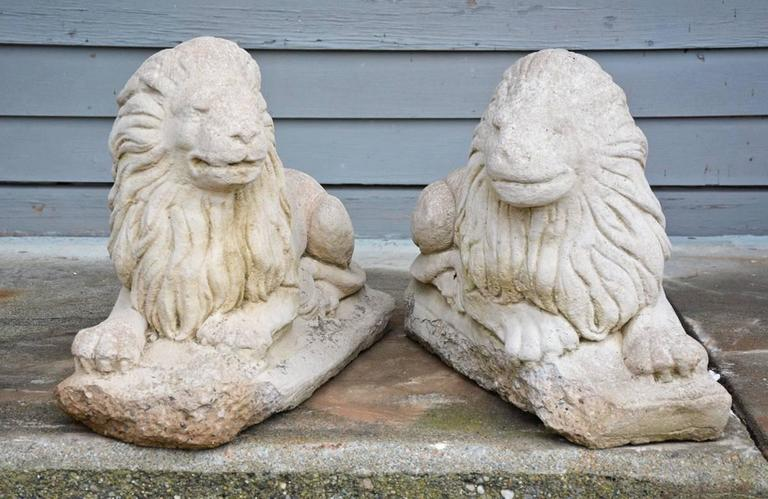Classical Roman Pair of Antique Garden Lions For Sale