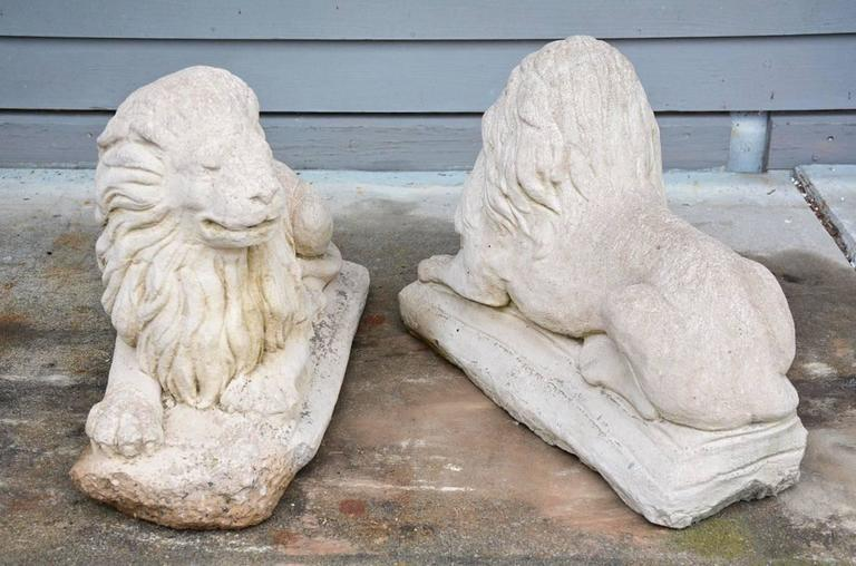 French Pair of Antique Garden Lions For Sale