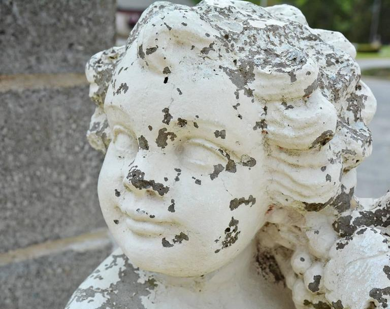 Carved Victorian Garden Stone Putti For Sale