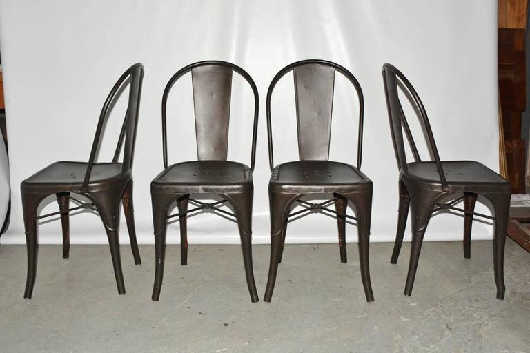 French Four Tolix Style Industrial Metal Bistro Chairs For Sale