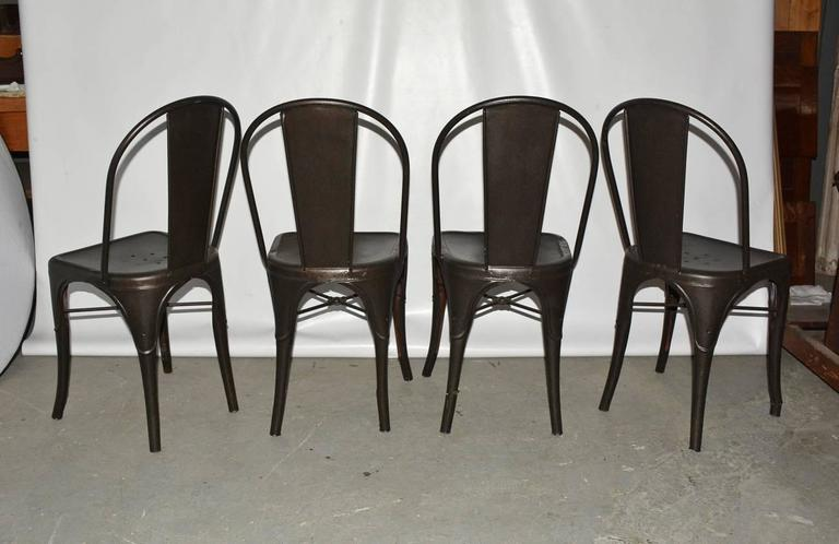Machine-Made Four Tolix Style Industrial Metal Bistro Chairs For Sale