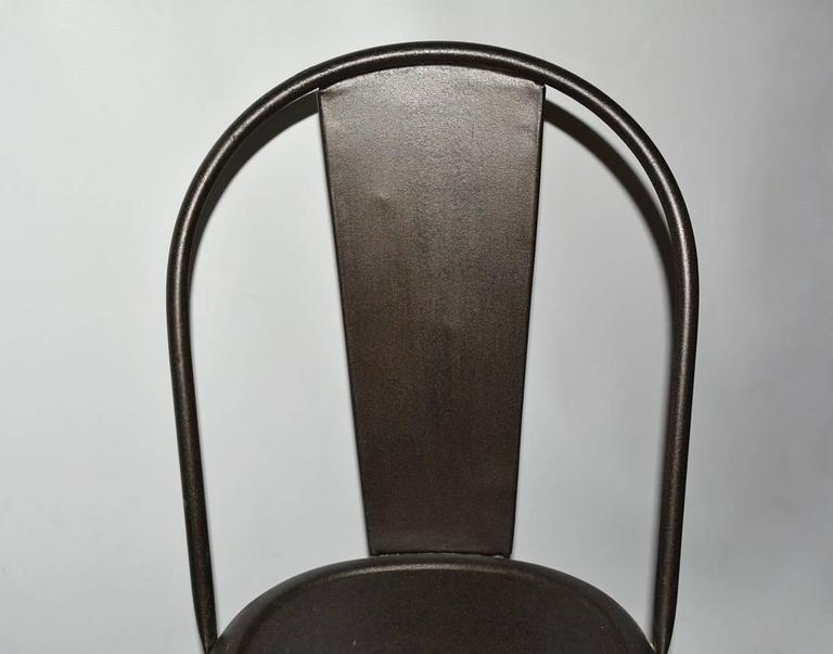 Four Tolix Style Industrial Metal Bistro Chairs In Good Condition For Sale In Great Barrington, MA