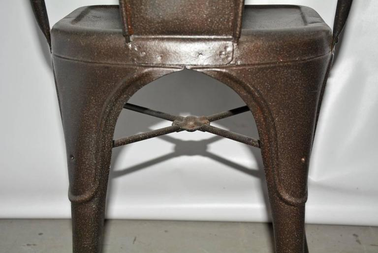 Mid-20th Century Four Tolix Style Industrial Metal Bistro Chairs For Sale