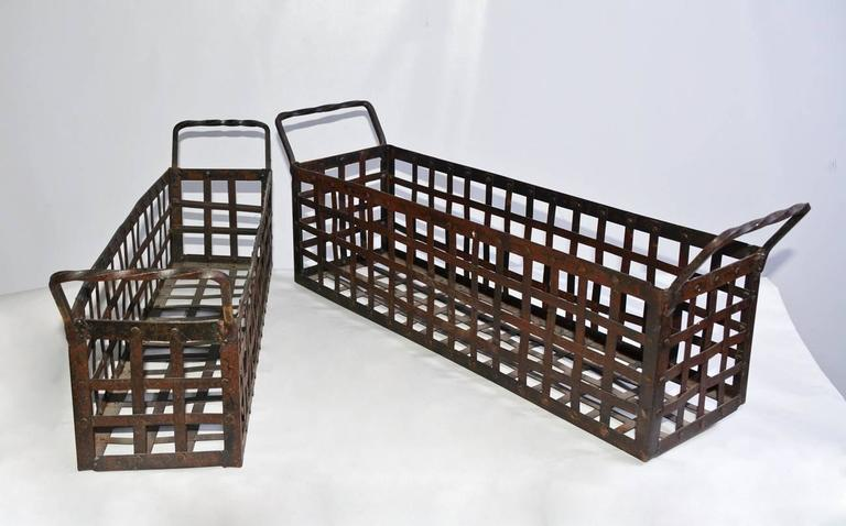 Industrial Pair of Vintage Wrought-Iron Shell-Fish Baskets For Sale