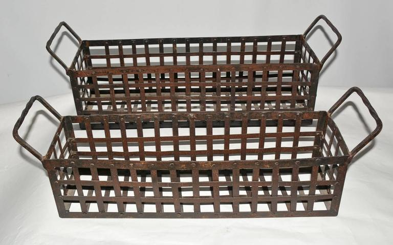 American Pair of Vintage Wrought-Iron Shell-Fish Baskets For Sale