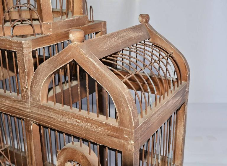 Wire Antique Architectural Bird Cage For Sale