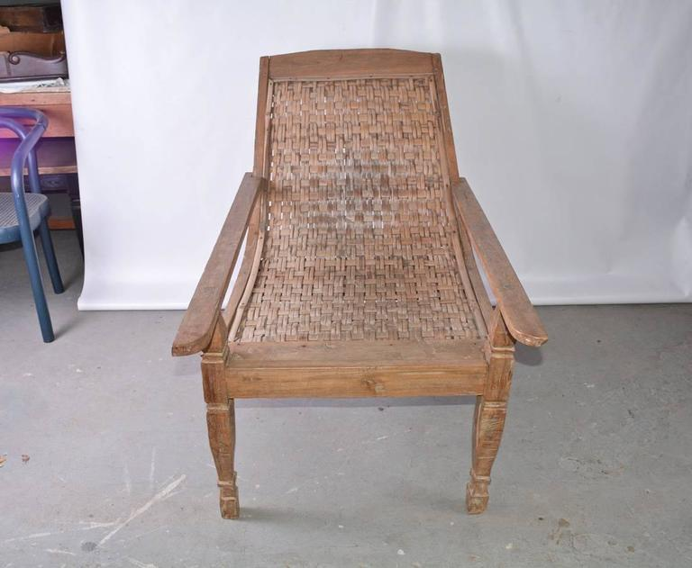 British Colonial Anglo-Indian Teak Plantation Chair For Sale