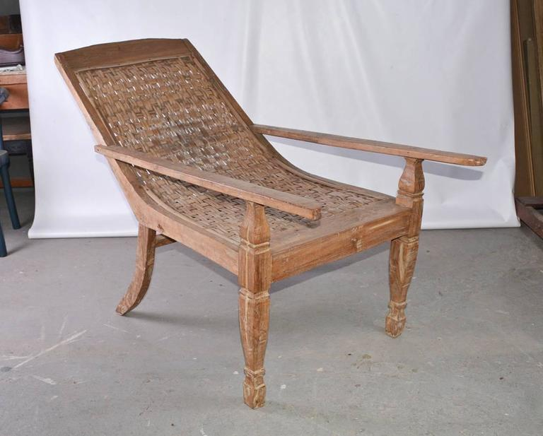 Hand-Crafted Anglo-Indian Teak Plantation Chair For Sale