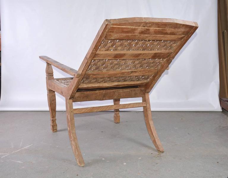 19th Century Anglo-Indian Teak Plantation Chair For Sale