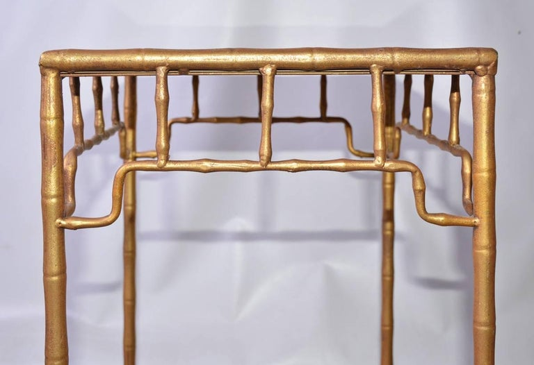 American Vintage Faux-Bamboo Gilt-Metal Table For Sale