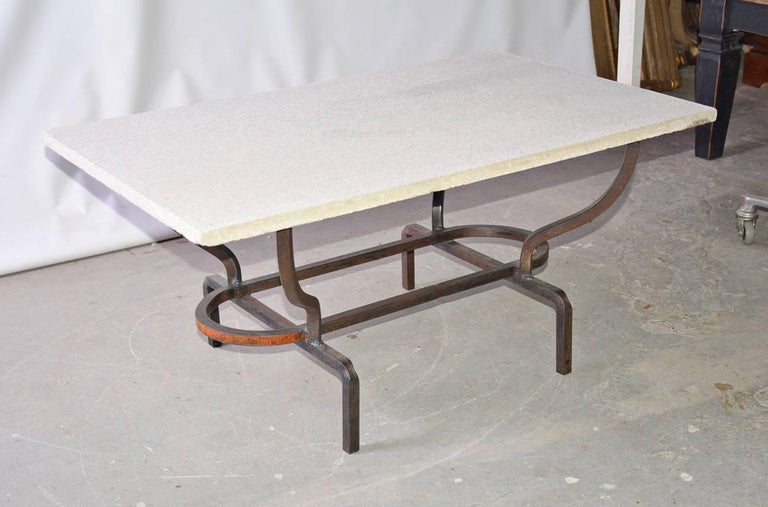Contemporary Coffee Table with Stone Top and Wrought Iron Base 2