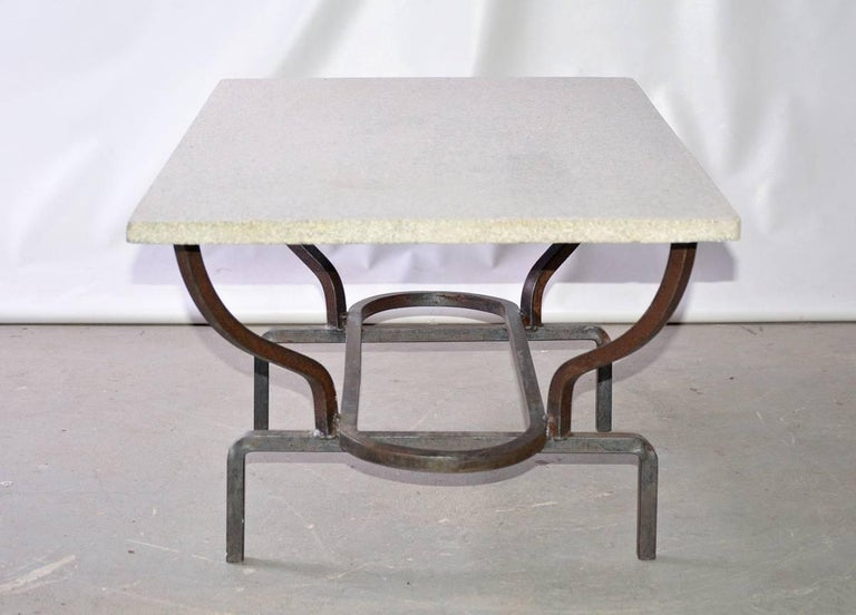 Contemporary Coffee Table with Stone Top and Wrought Iron Base 3