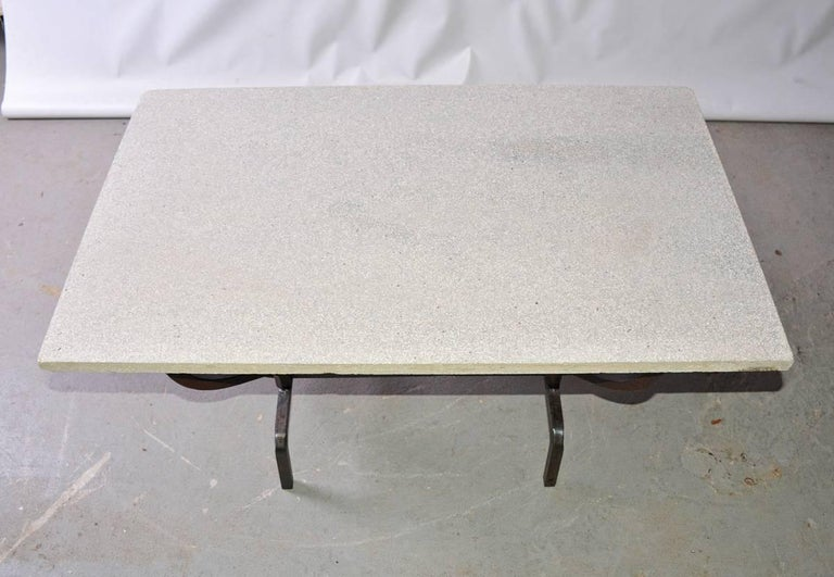 Contemporary Coffee Table with Stone Top and Wrought Iron Base 4