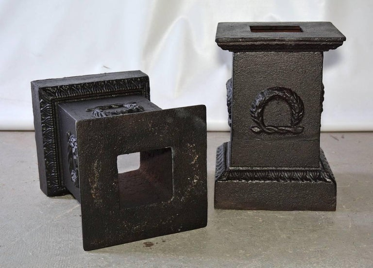 Iron Pair of Vintage Neoclassical Style Urns on Pedestals For Sale