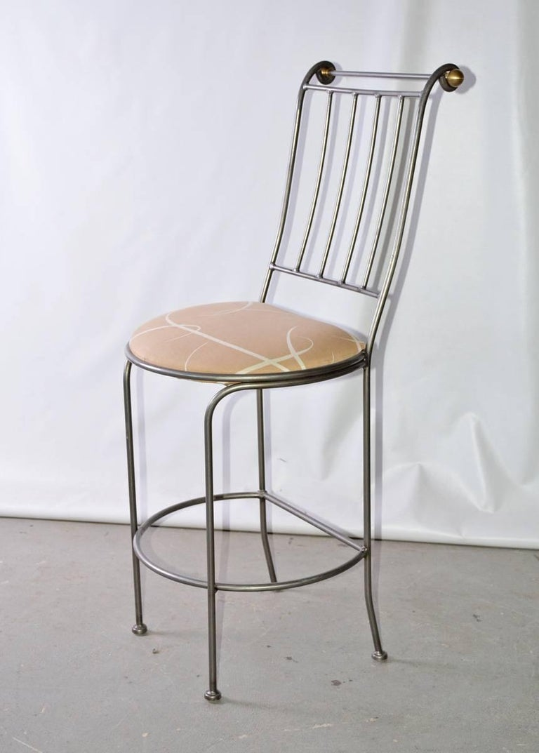 Contemporary Stainless Steel And Brass Bar Stool For Sale
