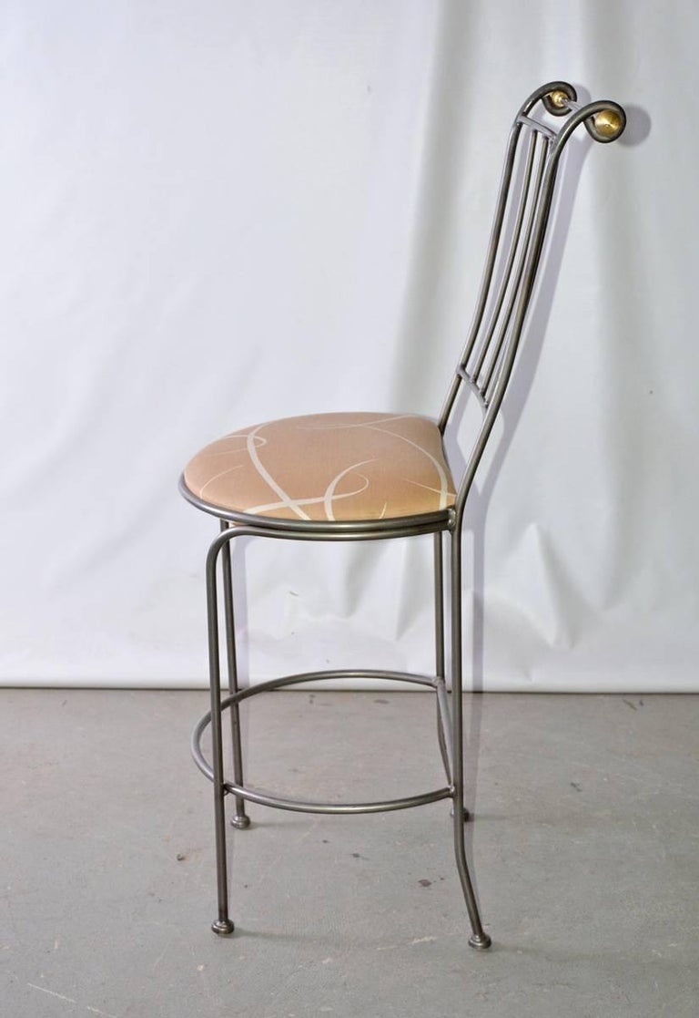 Contemporary Stainless Steel and Brass Bar Stool 4