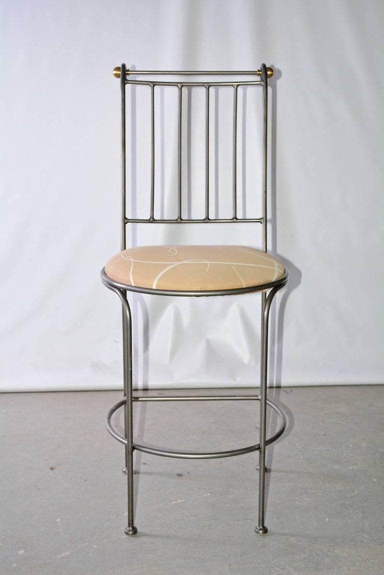 Contemporary Stainless Steel and Brass Bar Stool 3