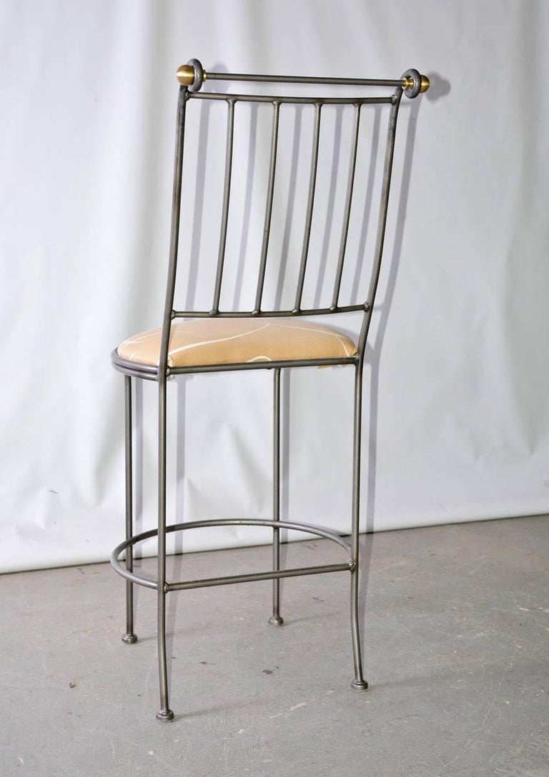 Contemporary Stainless Steel and Brass Bar Stool 5