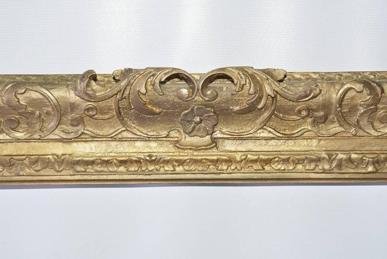The vintage French-style giltwood picture or mirror frame is decorated with molded leaves and scrolls. Can be used for painting or as mirror frame. Hang horizontal or vertical. We can facilitate installing mirror.