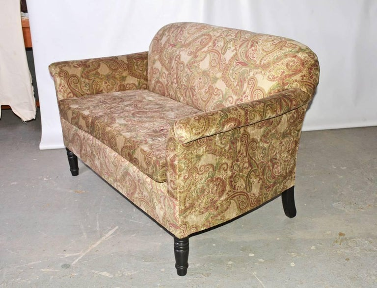 French Napoleon III-Style Settee Covered in Paisley Velvet For Sale