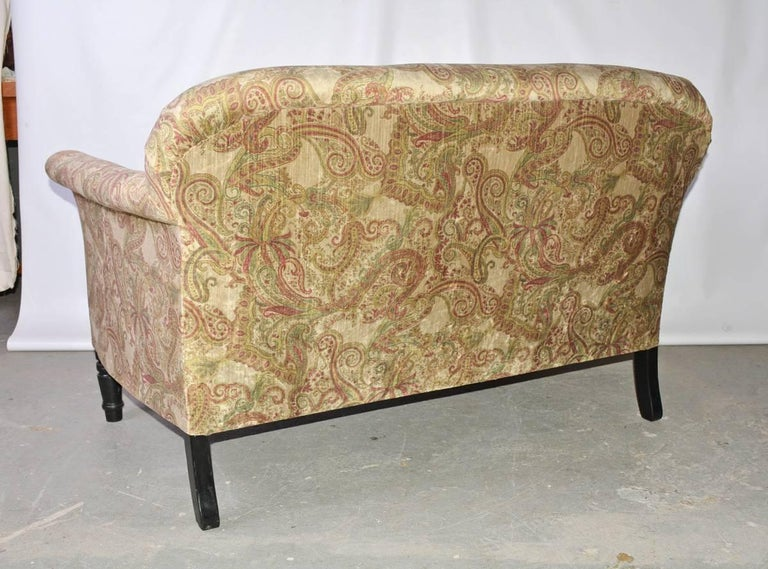 Hand-Crafted Napoleon III-Style Settee Covered in Paisley Velvet For Sale