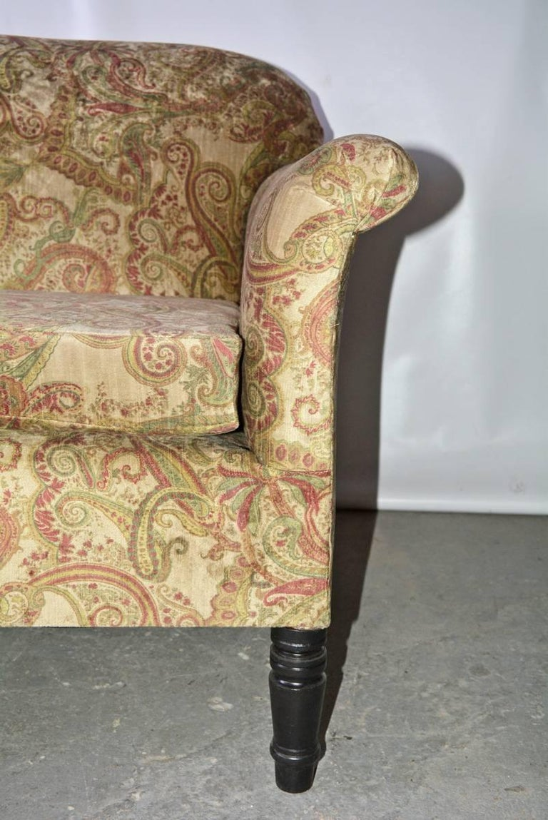 19th Century Napoleon III-Style Settee Covered in Paisley Velvet For Sale