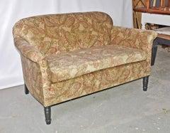 Napoleon III-Style Settee Covered in Paisley Velvet