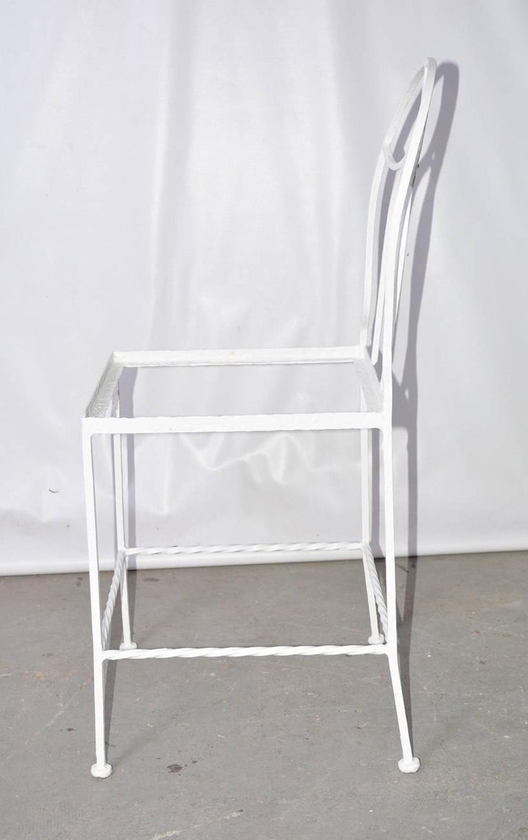 Painted Antique French Iron Bistro Garden Chair For Sale