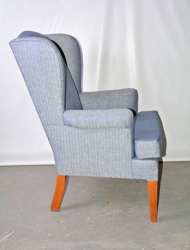 Chippendale Mid-Century Modern Wingback Chair For Sale