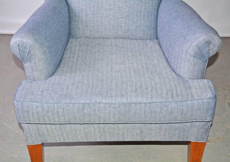 Machine-Made Mid-Century Modern Wingback Chair For Sale