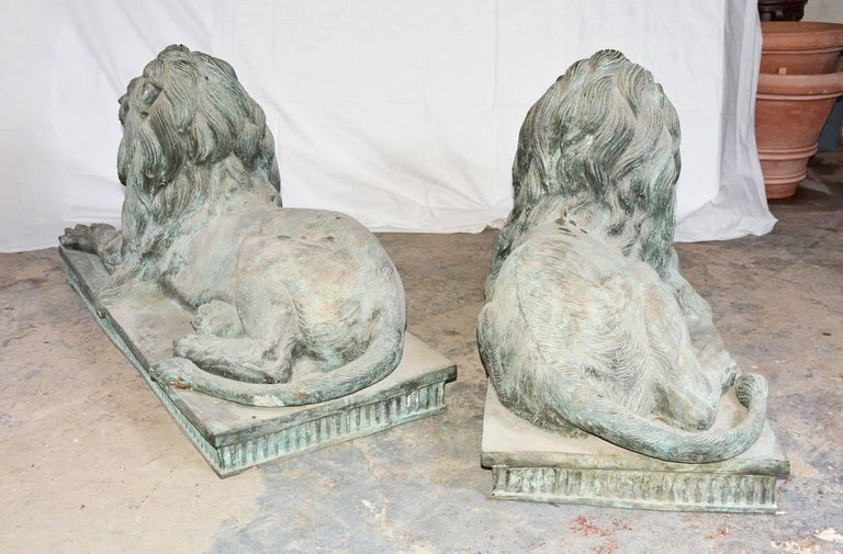 Hand-Crafted Pair of Monumental Bronze Lions For Sale