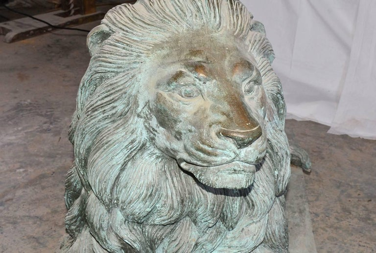 Pair of Monumental Bronze Lions For Sale 1