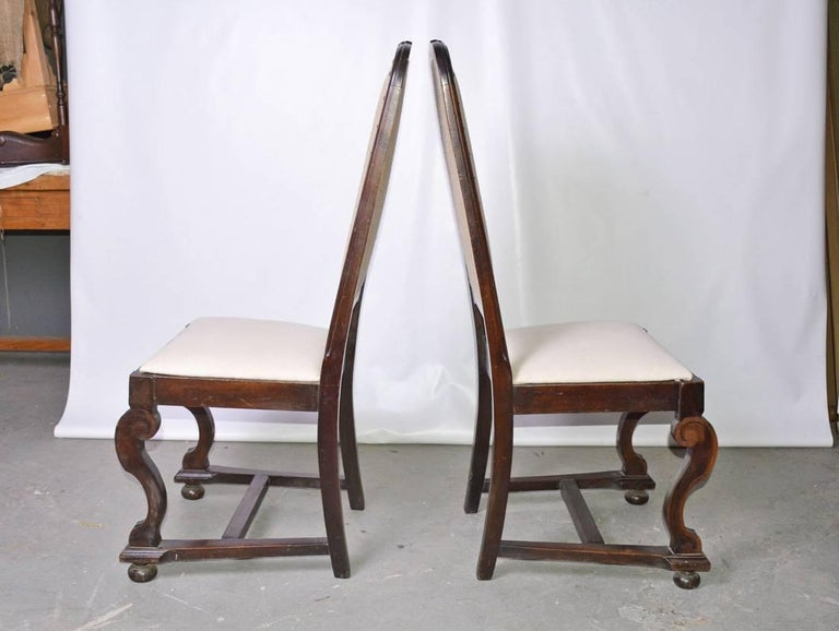 William and Mary Pair of Antique Jacobean-Revival Side Chairs For Sale