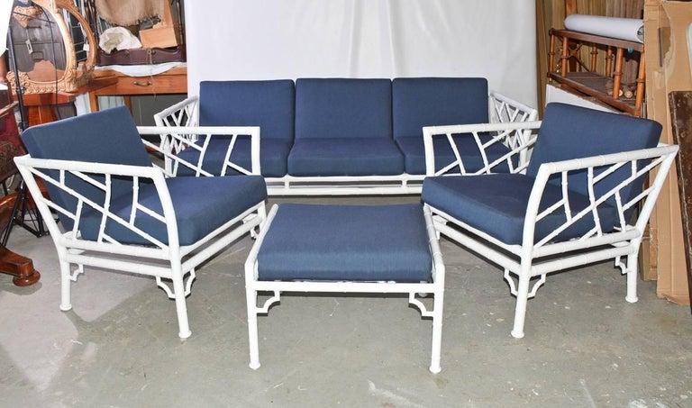 Four-Piece Metal Vintage Faux Bamboo Patio or Porch Set 2