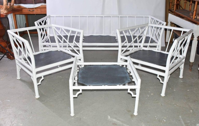 Chinese Chippendale Four-Piece Metal Vintage Faux Bamboo Patio or Porch Set For Sale