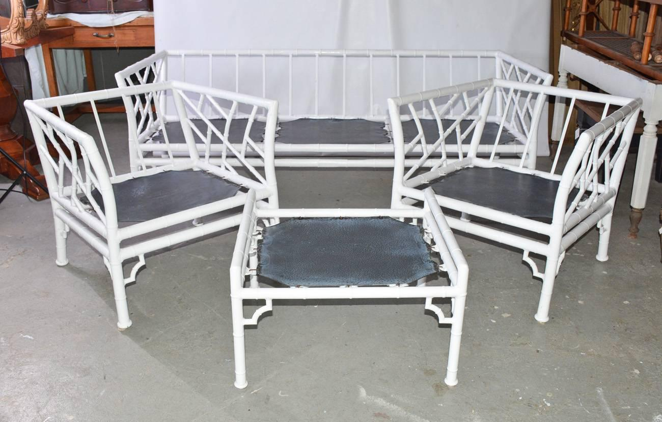 Chinese Chippendale Four Piece Metal Vintage Faux Bamboo Patio Or Porch Set  For Sale