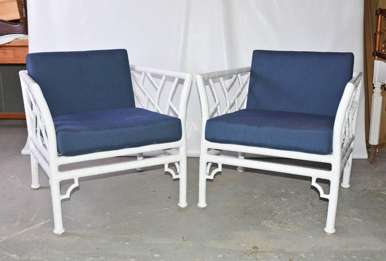 Painted Four-Piece Metal Vintage Faux Bamboo Patio or Porch Set For Sale