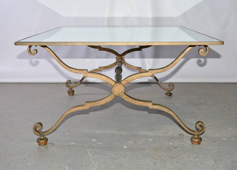 Art Deco Vintage Gilt Wrought Iron and Mirrored Coffee Table For Sale