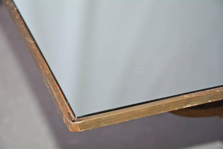 Vintage Gilt Wrought Iron and Mirrored Coffee Table 4