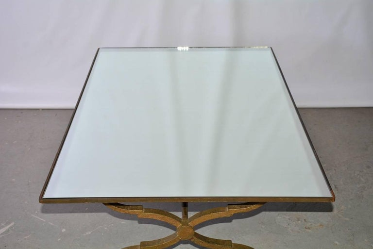 Vintage Gilt Wrought Iron and Mirrored Coffee Table For Sale 3