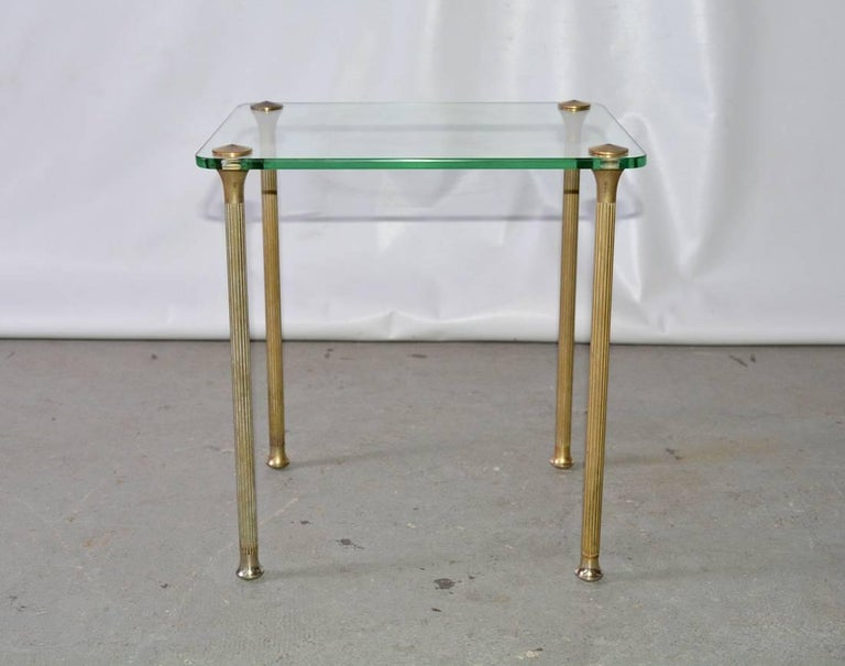 Midcentury Glass and Brass End Table 2