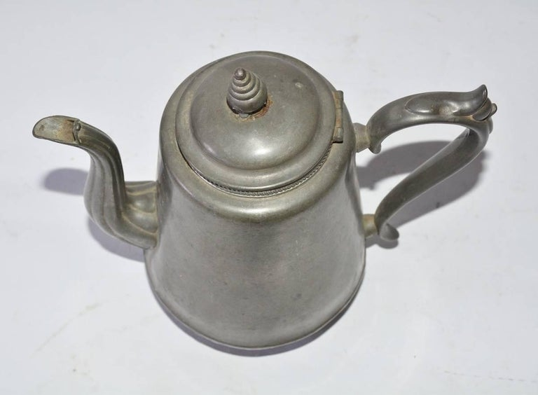 20th Century Antique Pewter Coffee Pot For Sale
