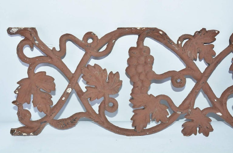 Decorative metal railing piece with grape motif makes a wonderful wall decoration piece. Can be hung vertical or horizontal.